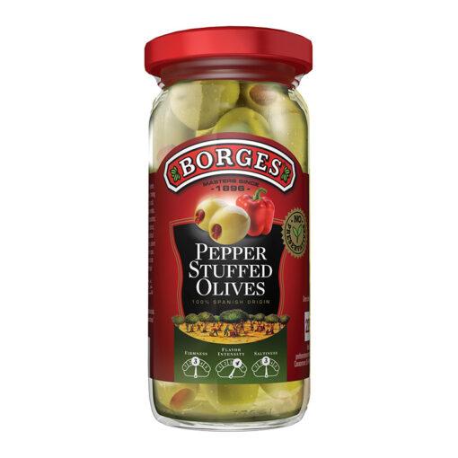 Rohelised oliivid paprikatäidisega Borges 220/140g